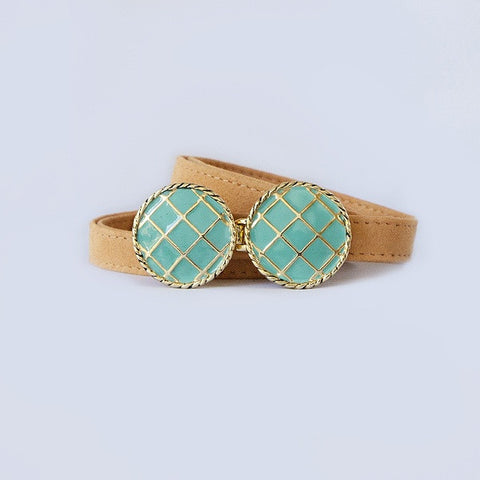 BasketWeave Buckle in Turquoise