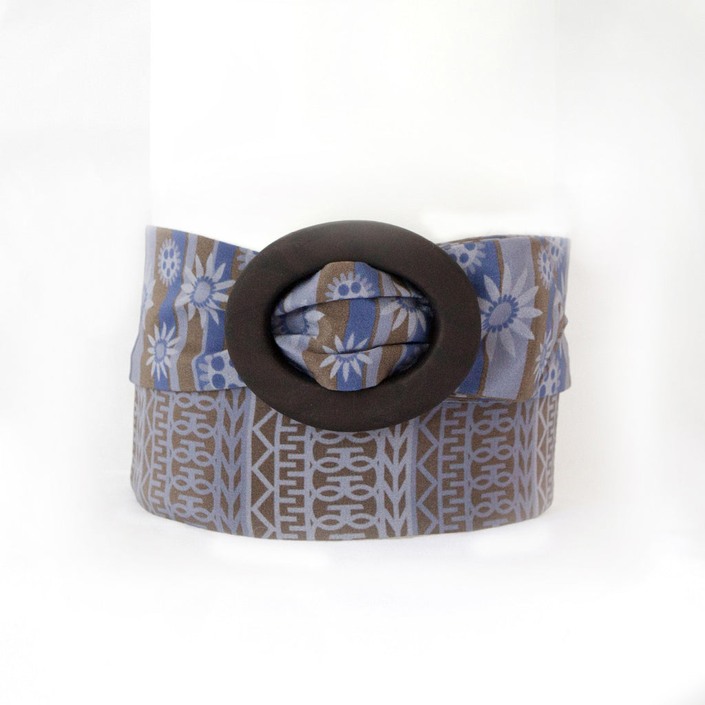 Brown and Blue Silk Belt