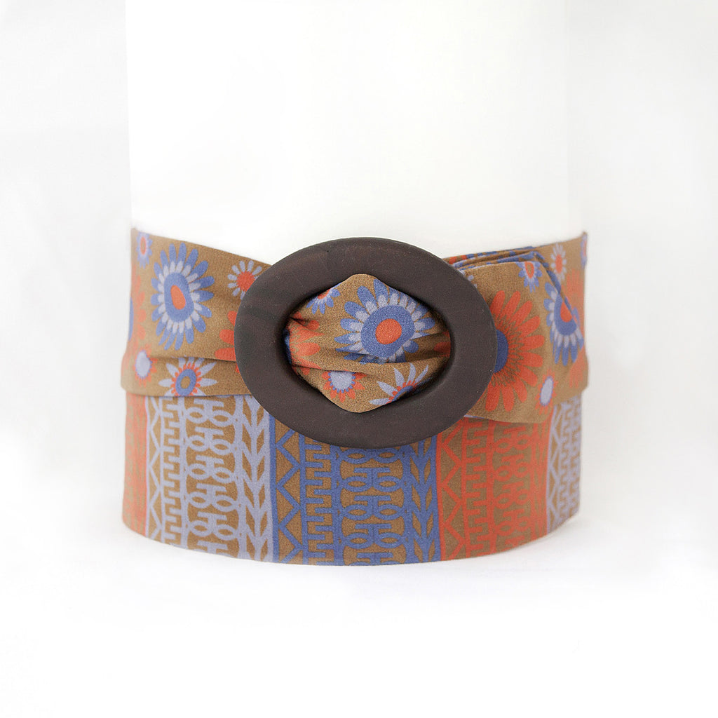 Brown and Red Silk Belt