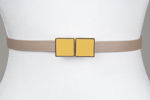 Square Enamel Buckle (Honey Gold)