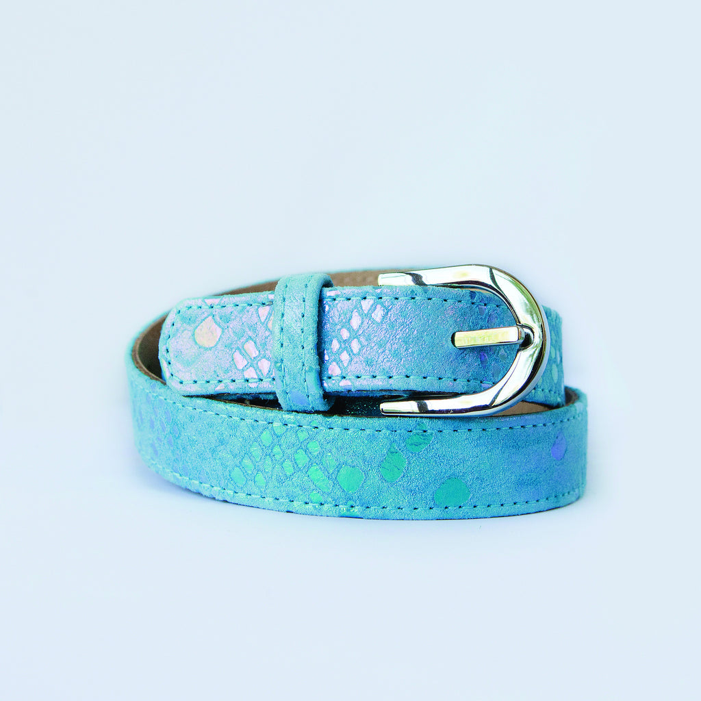 Blue Metallic with Silver Buckle