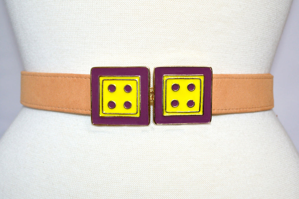Twin Cincher in Lemon Zest and Black Cherry on Peach Strap