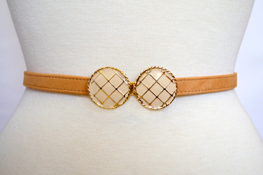 Linen Buckle with Peach Strap