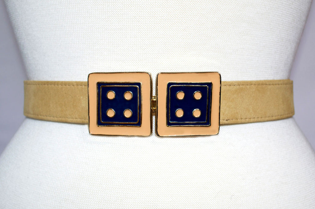 Twin Cincher in Monaco Blue and Nectarine with Honey Gold Strap