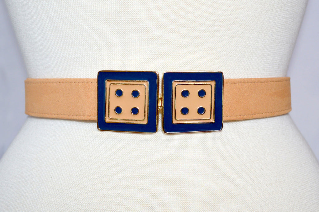 Twin Cincher in Nectarine and Monaco Blue with Peach Strap