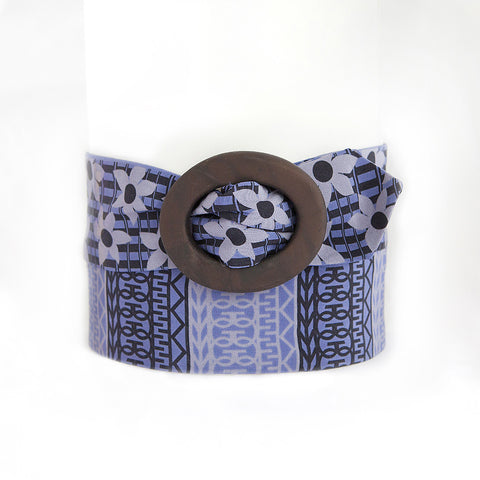 Periwinkle and Black Silk Belt