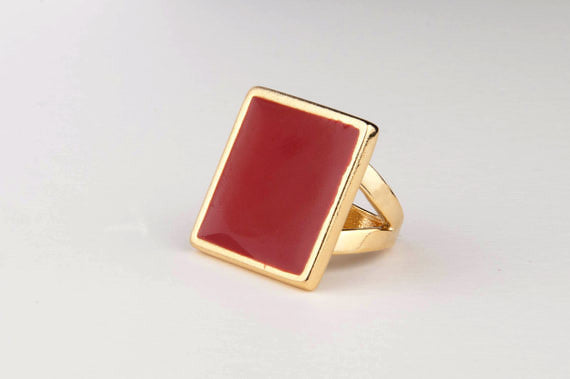 Square Enamel Ring (Chilly)