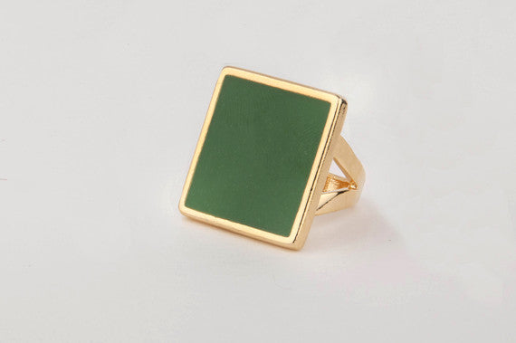 Square Enamel Ring (Kelly Green)