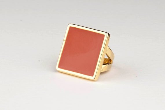 Square Enamel Ring (Pumpkin)