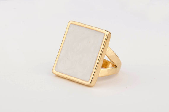 Square Enamel Ring (White)
