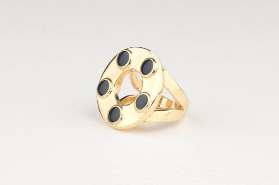 Circle Enamel Dots Ring (Indigo)