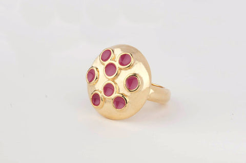 Dome Multi-Enamel Dot Ring (Cerise)