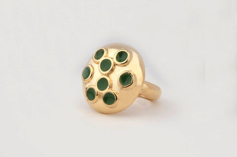 Dome Multi-Enamel Dot Ring (Kelly Green)