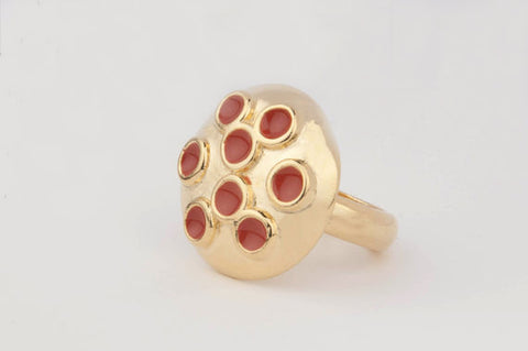Dome Multi-Enamel Dot Ring (Pumpkin)