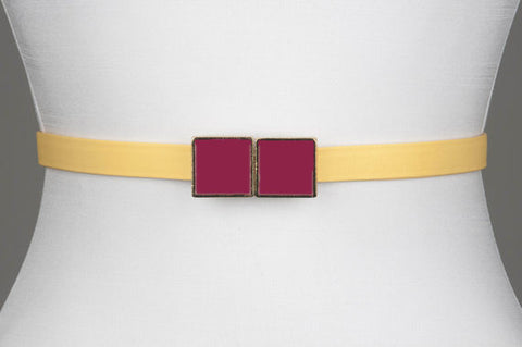 Square Enamel Buckle (Raspberry)