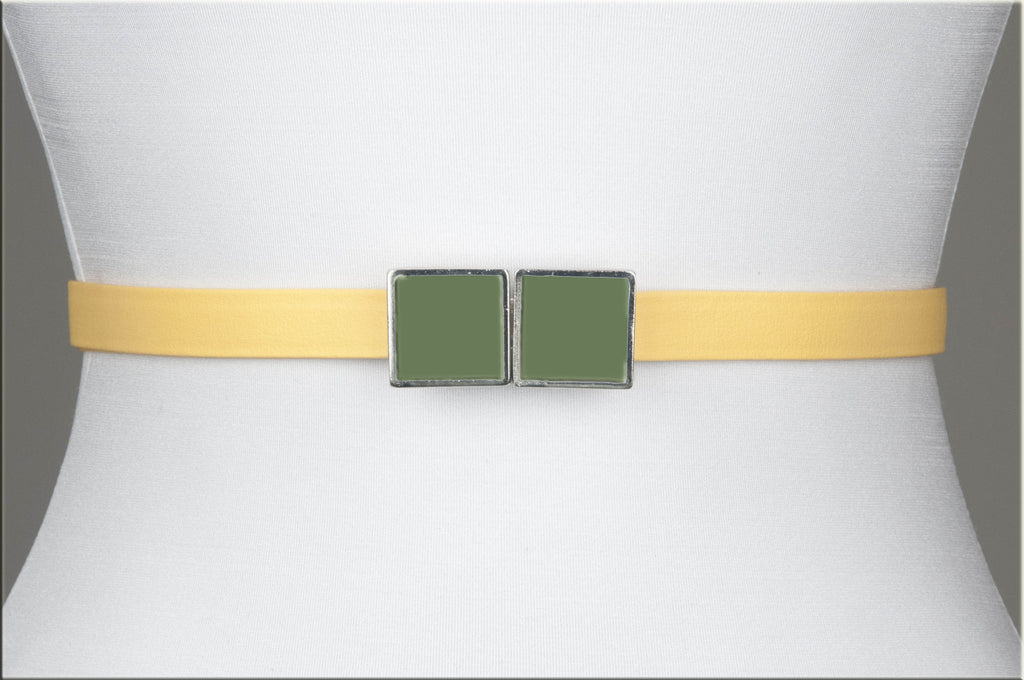 Square Enamel Buckle (Sweet Sage)