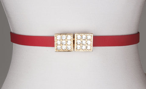 Multi-Rhinestone Square Buckle