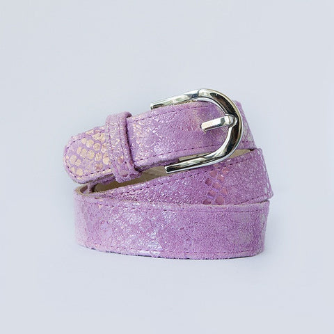Metallic Pink Silver Buckle