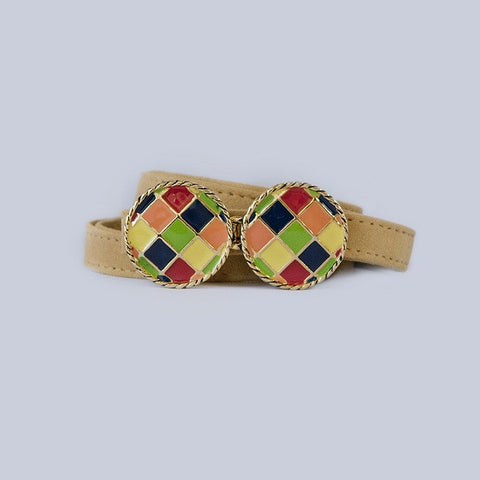BasketWeave Buckle in Multi-Primary