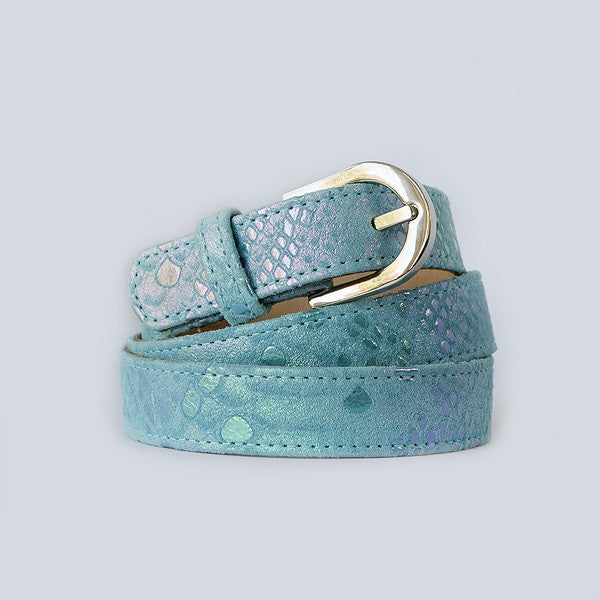 Blue Metallic Silver Buckle