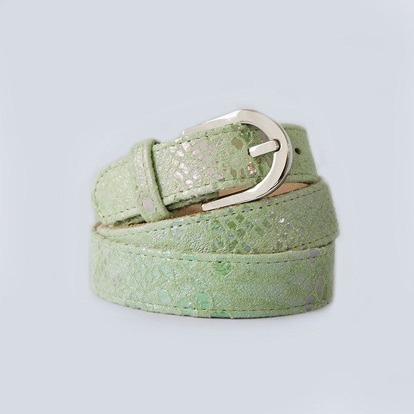Green Metallic Silver Buckle