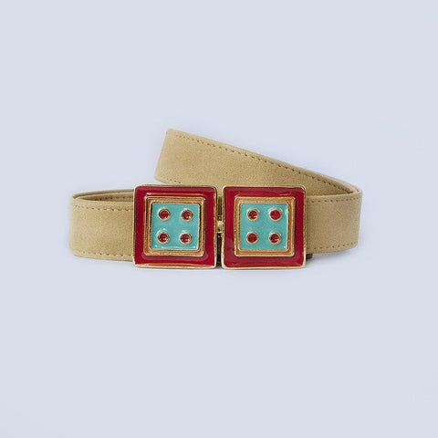 Large Square in Turquoise and Red