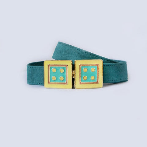 Large Square in Turquoise and Yellow
