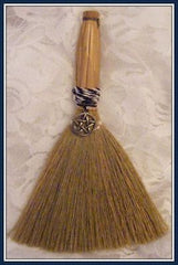 WITCHES ALTAR BESOM BROOM WITH PENTACLE PENTAGRAM CHARM~ Protection, Wisdom