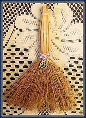 WITCHES ALTAR BESOM BROOM WITH TRIQUETRA CHARM ~ Wicca, Travelling, Protection
