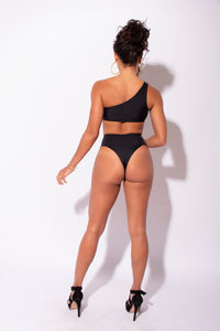 Carvico Black High Waisted Thong Bottoms