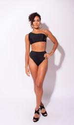 Load image into Gallery viewer, Carvico Black High Waisted Thong Bottoms