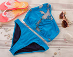 Load image into Gallery viewer, Blue Bikini Sport Bottoms