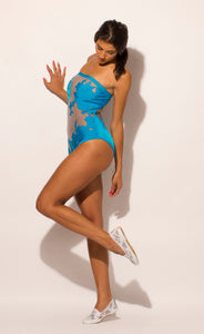 Blue Strapless One Piece