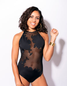 Carvico Black Floral Embroidered One Piece