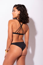 Load image into Gallery viewer, Carvico Black Floral Embroidered Triangle Bikini