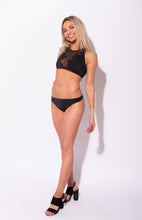 Load image into Gallery viewer, Carvico Black Floral Embroidered Halter Bikini Top