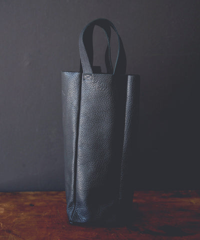 Single Bottle Leather Wine Tote | Black