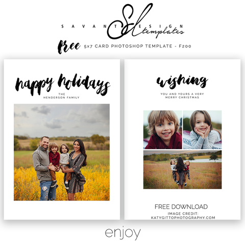 Free Christmas Card Photoshop Template by Savant Design Templates F200