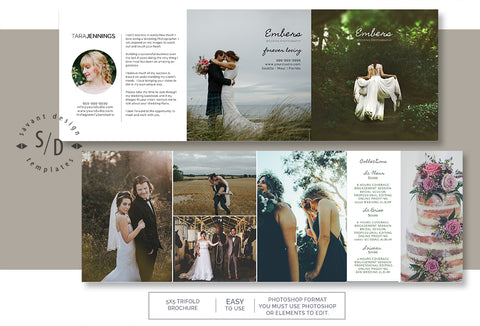 Wedding Photography Marketing Template - Photoshop Template - 5x5 Trifold Template - Price Guide Template