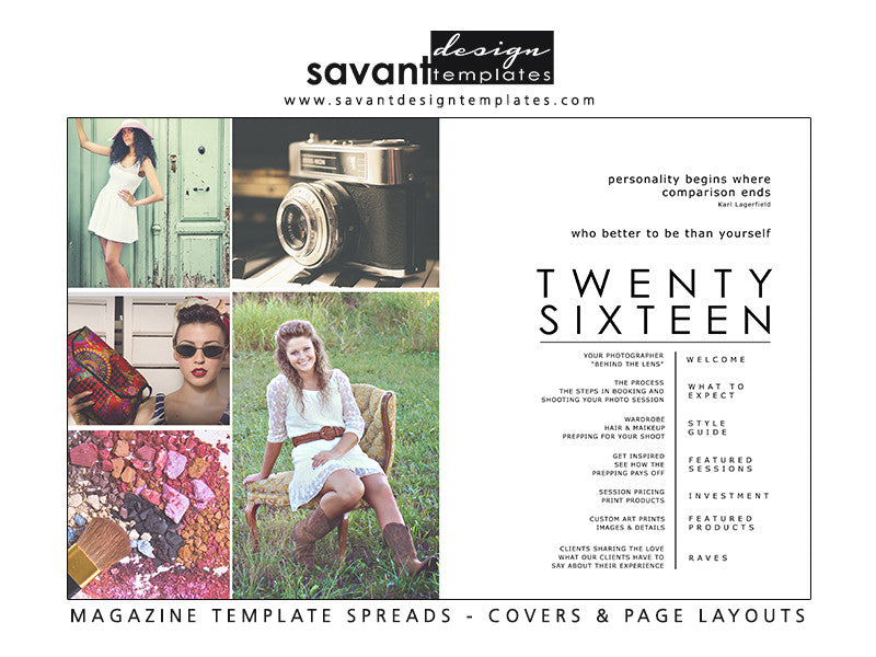 Magazine Template Spread, Index Design, Photography Magazine Templates