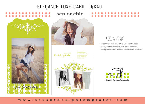 Savant Design Templates 70's Green Bi-Fold Luxe Senior Grad Card