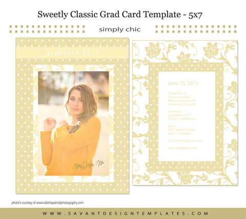 Grad Card Template - Sweetly Classic