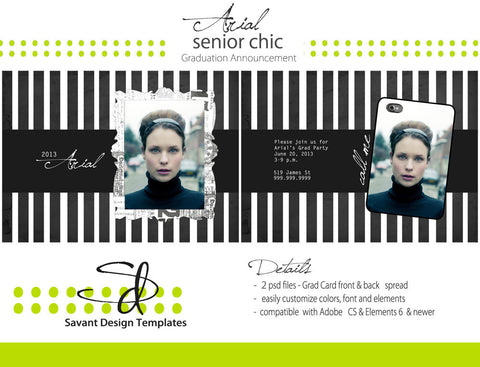 Senior Grad Card Photoshop Template