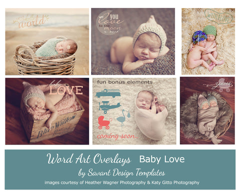 Baby Love Word Art Digital Overlays - Set of 16 Brushes and Png's by Savant Design Templates