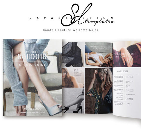 Boudoir Welcome Guide, InDesign Photography Marketing Template, a customizable Boudoir Template that includes Price List, The Process and What to Expect Information, Branding, BMI201