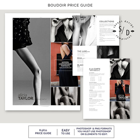 Photography Price List Template for Boudoir Photographers, Photoshop Template, BM302S
