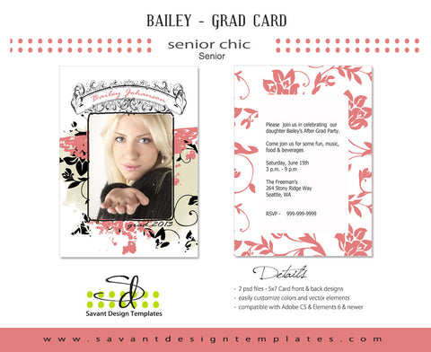 Savant Design Templates Senior Girls Grad Card - Bailey