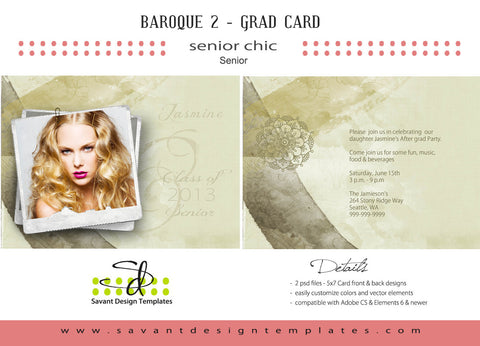 Savant Design Templates Senior Grad Girls Baroque 2 Grad Card