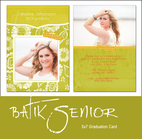 Senior Grad Card Template Batik Senior