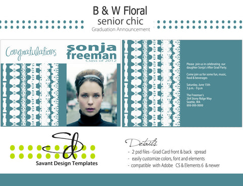 Savant Design Templates Senior Girls Batique 1 Grad Card